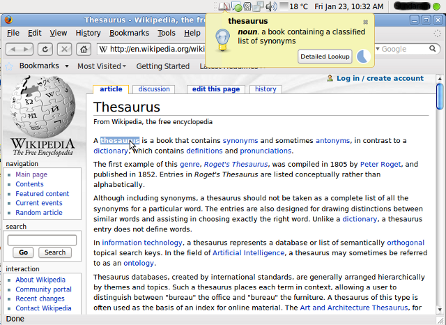 Notification of definition of 'thesaurus'